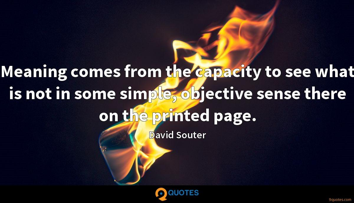 Meaning comes from the capacity to see what is not in some simple, objective sense there on the printed page.
