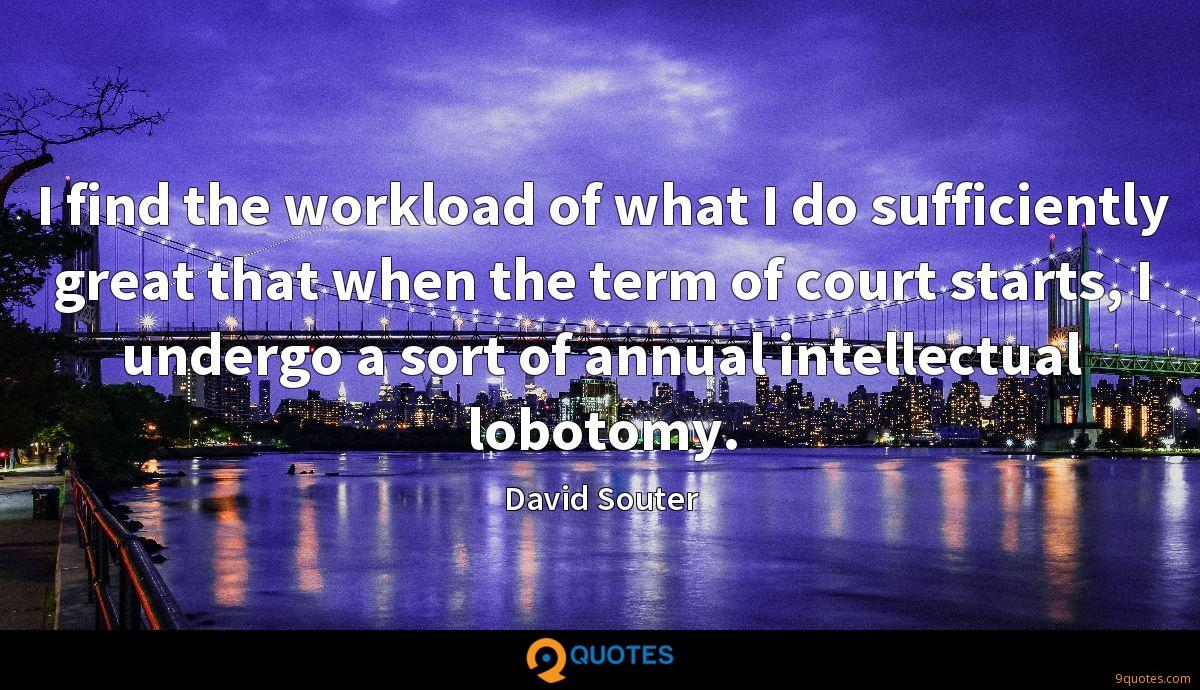I find the workload of what I do sufficiently great that when the term of court starts, I undergo a sort of annual intellectual lobotomy.