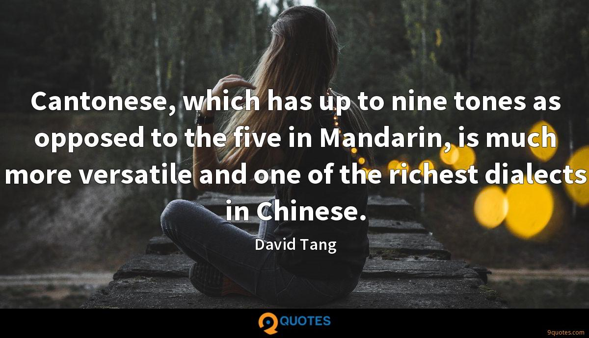 Cantonese, which has up to nine tones as opposed to the five in Mandarin, is much more versatile and one of the richest dialects in Chinese.