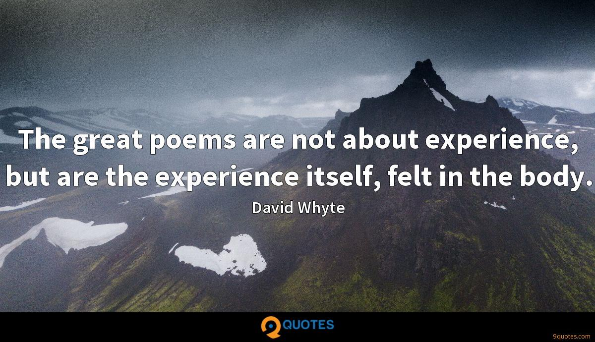 The great poems are not about experience, but are the experience itself, felt in the body.