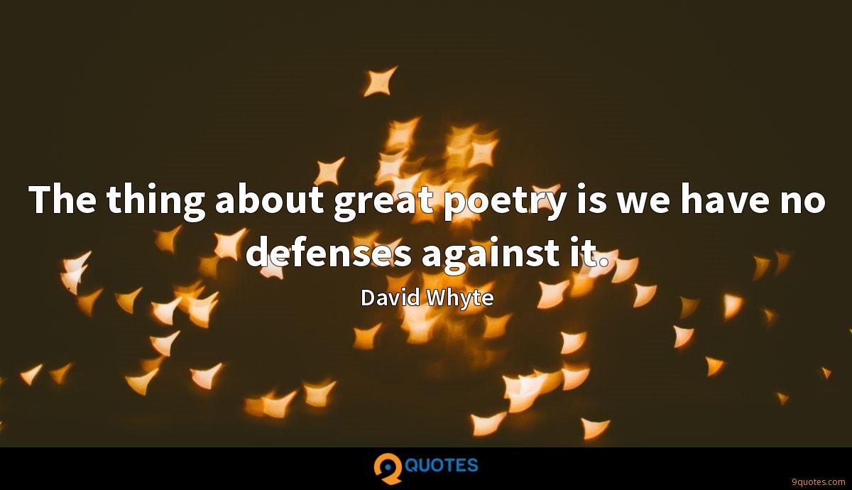 The thing about great poetry is we have no defenses against it.