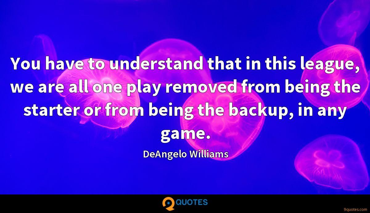 You have to understand that in this league, we are all one play removed from being the starter or from being the backup, in any game.