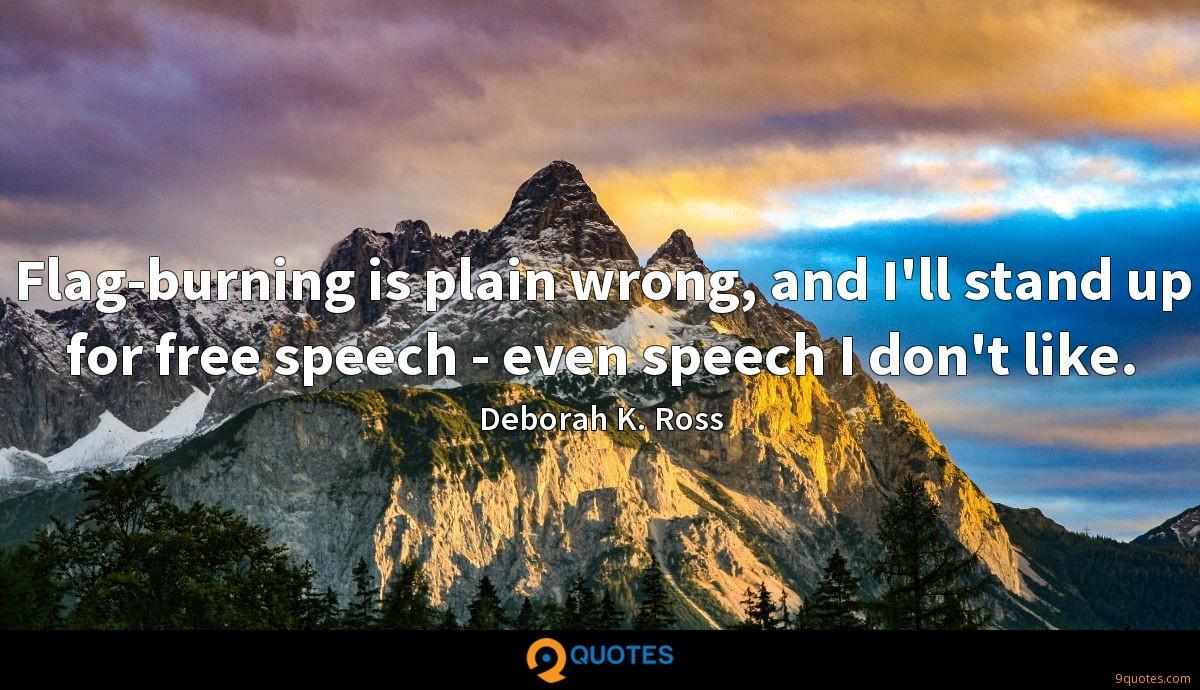 Flag-burning is plain wrong, and I'll stand up for free speech - even speech I don't like.