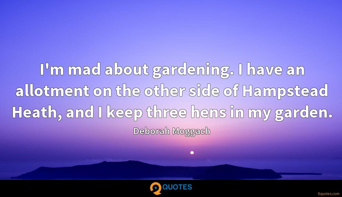 I'm mad about gardening. I have an allotment on the other side of Hampstead Heath, and I keep three hens in my garden.