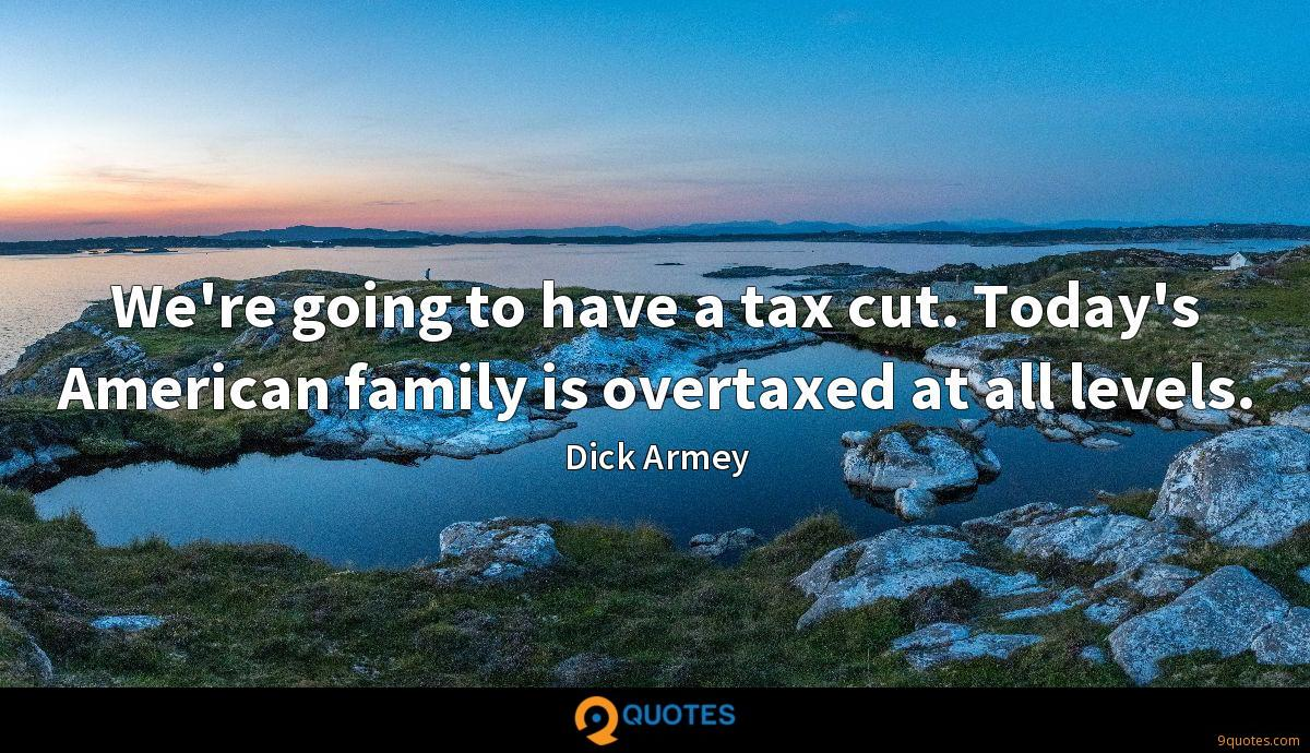 We're going to have a tax cut. Today's American family is overtaxed at all levels.