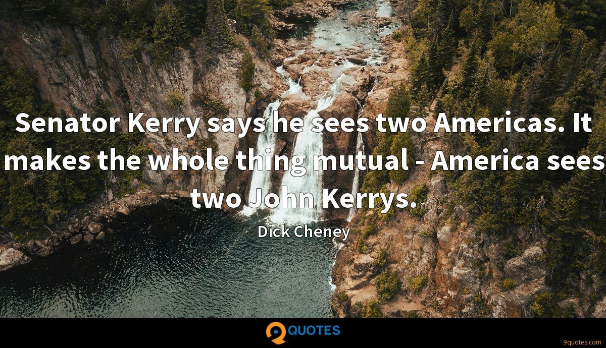 Senator Kerry says he sees two Americas. It makes the whole thing mutual - America sees two John Kerrys.