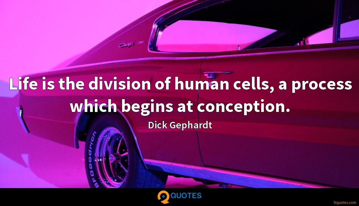 Life is the division of human cells, a process which begins at conception.