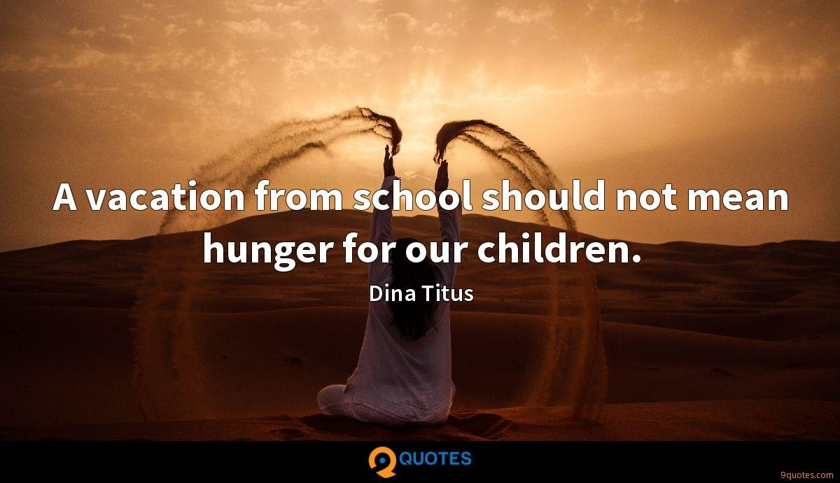 A vacation from school should not mean hunger for our children.
