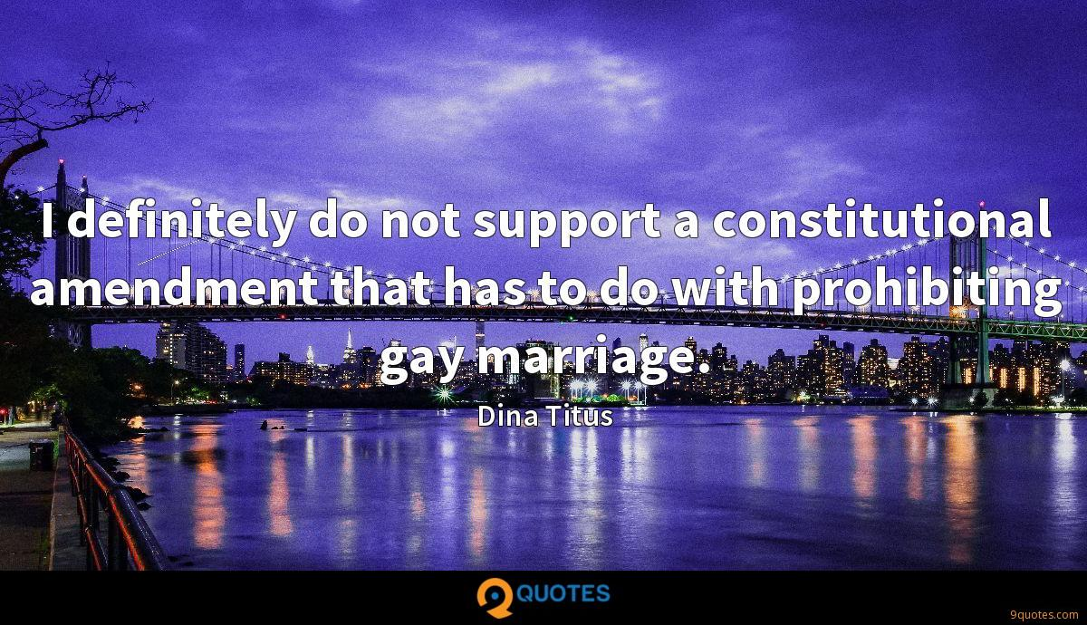 I definitely do not support a constitutional amendment that has to do with prohibiting gay marriage.