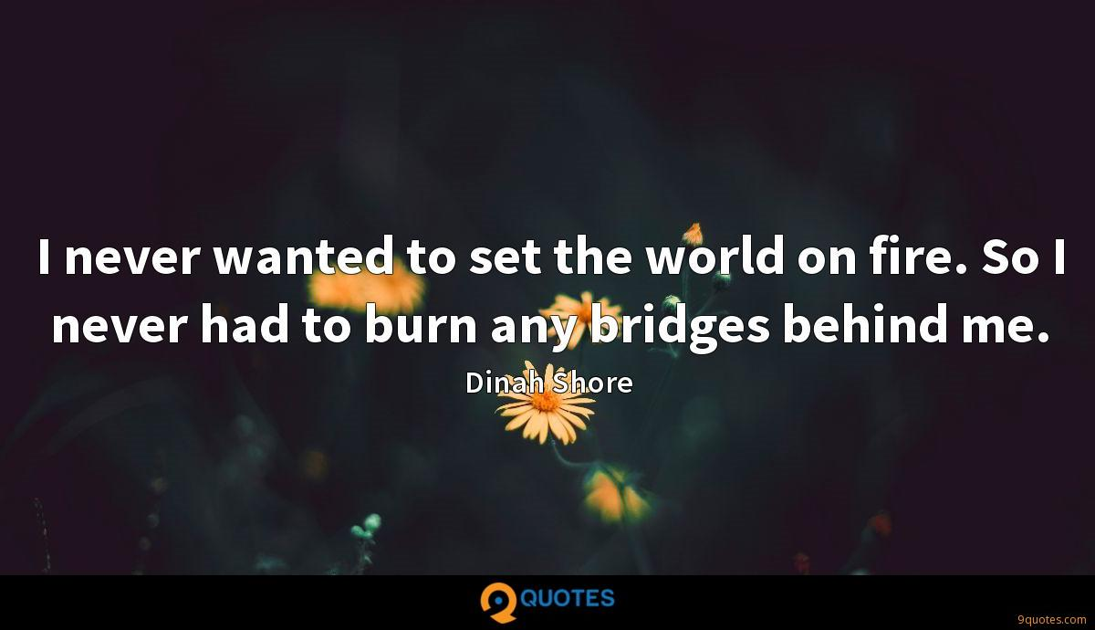I never wanted to set the world on fire. So I never had to burn any bridges behind me.