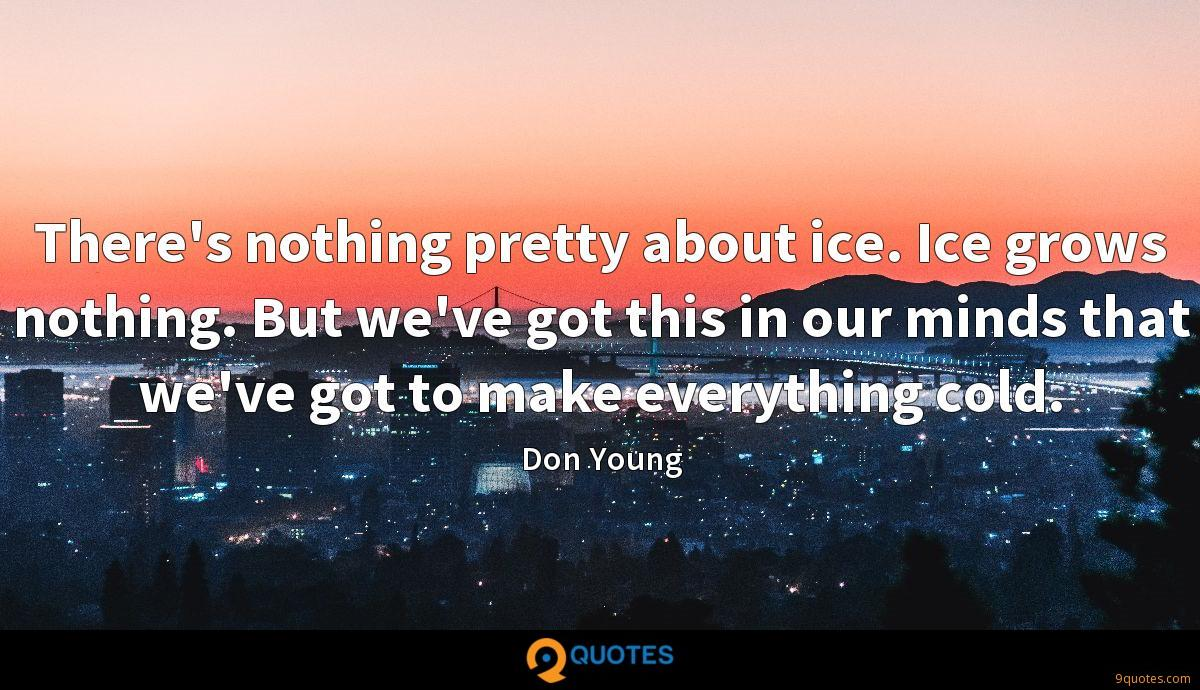 There's nothing pretty about ice. Ice grows nothing. But we've got this in our minds that we've got to make everything cold.
