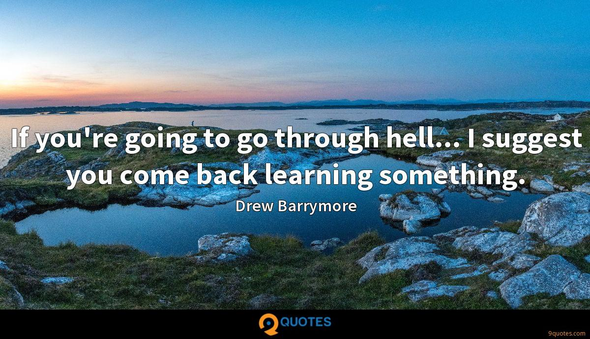 If you're going to go through hell... I suggest you come back learning something.