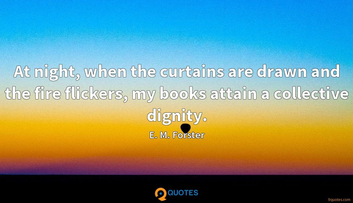 At night, when the curtains are drawn and the fire flickers, my books attain a collective dignity.