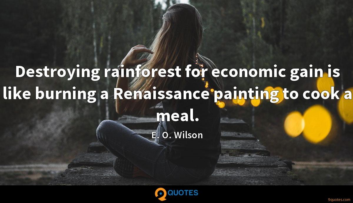Destroying rainforest for economic gain is like burning a Renaissance painting to cook a meal.