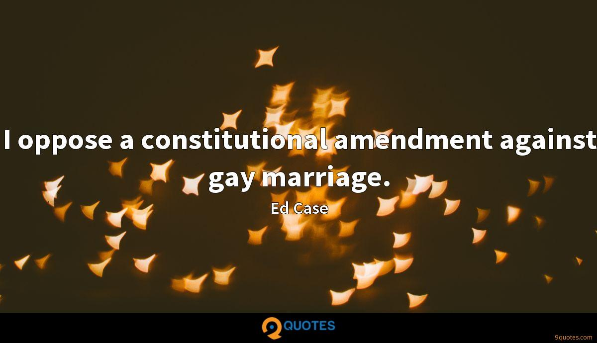 I oppose a constitutional amendment against gay marriage.