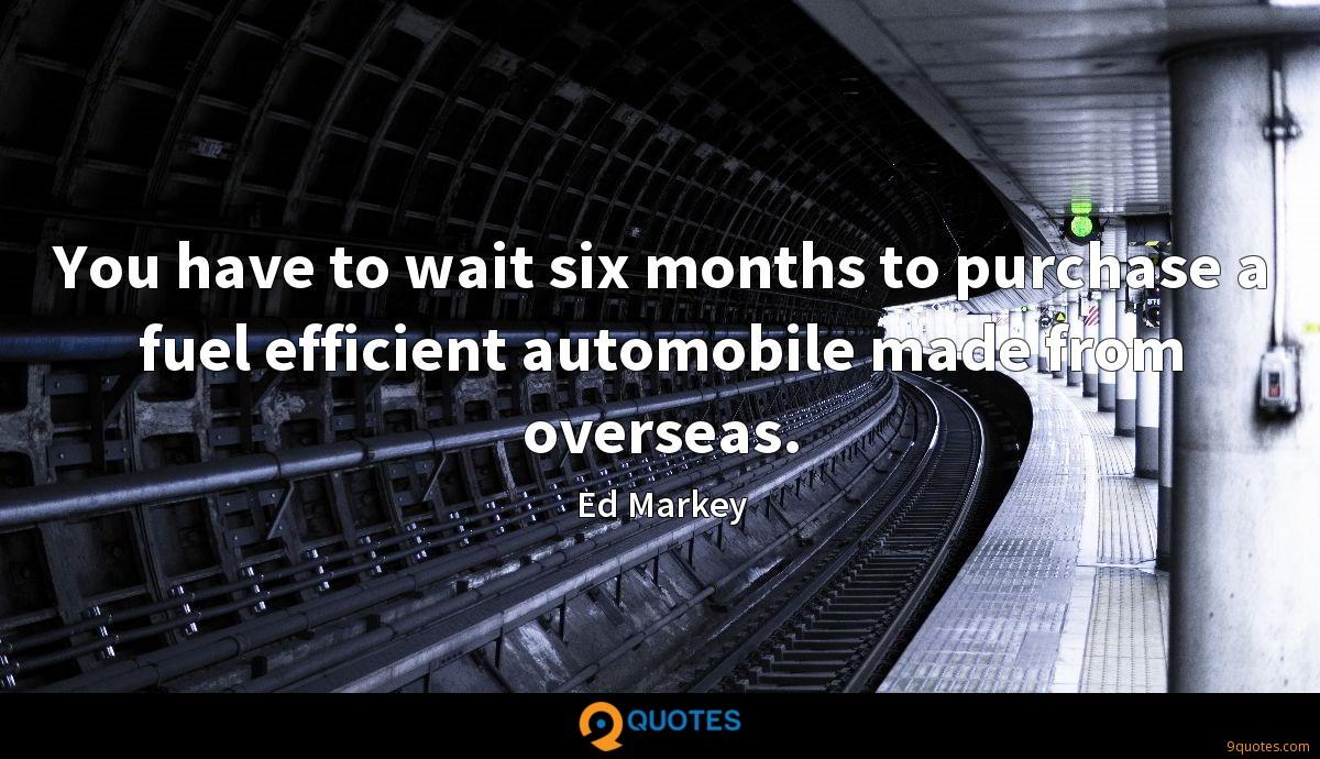You have to wait six months to purchase a fuel efficient automobile made from overseas.