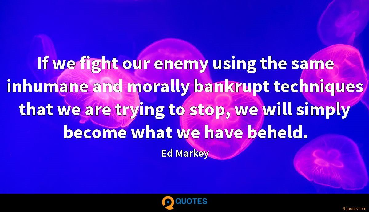If we fight our enemy using the same inhumane and morally bankrupt techniques that we are trying to stop, we will simply become what we have beheld.