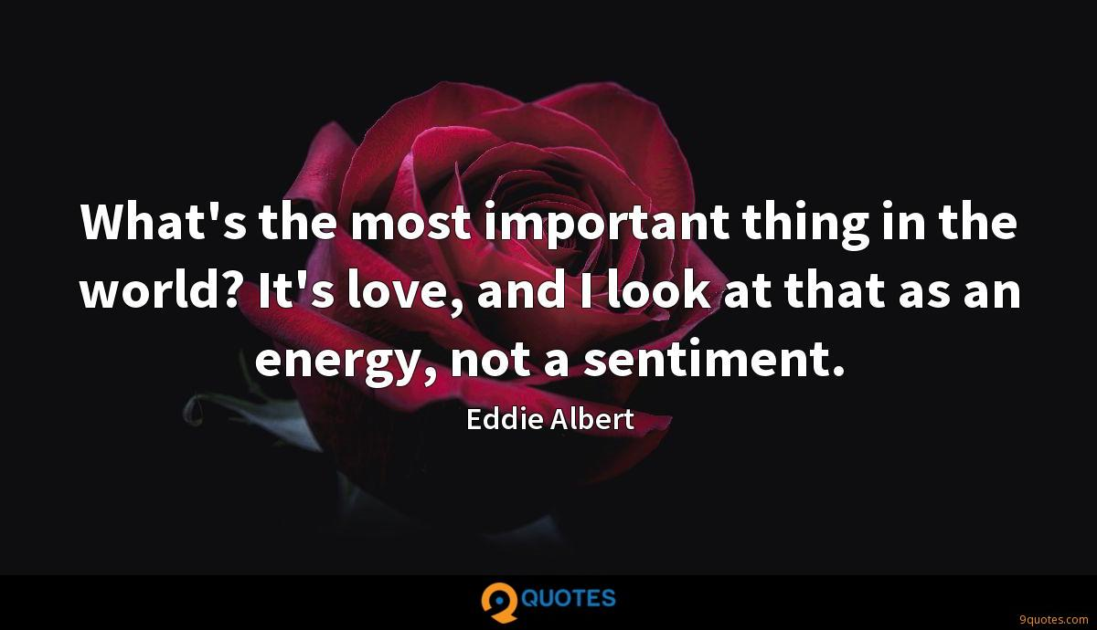 What's the most important thing in the world? It's love, and I look at that as an energy, not a sentiment.