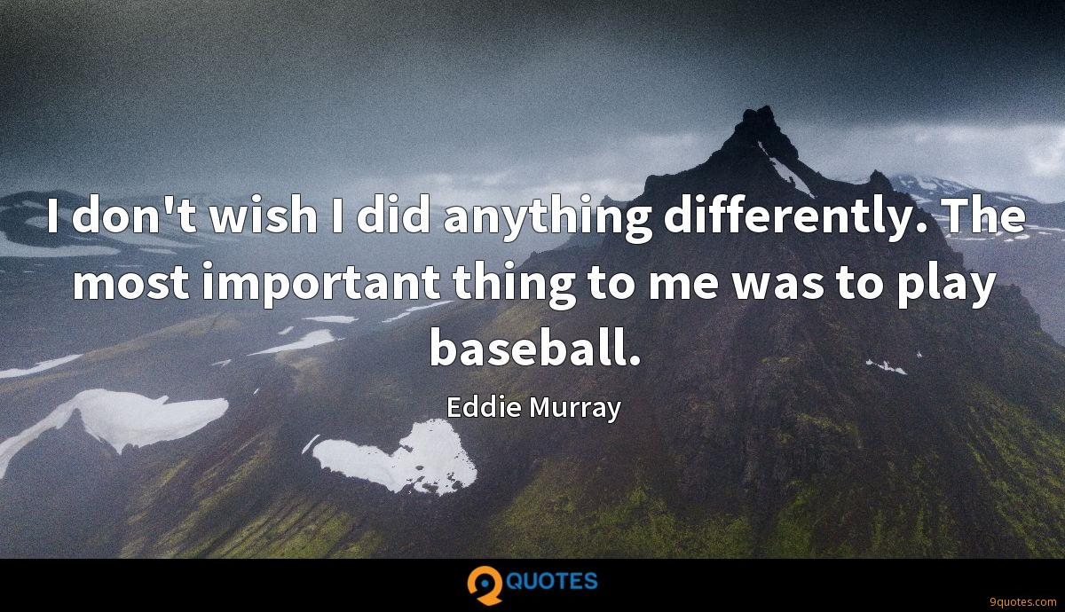 I don't wish I did anything differently. The most important thing to me was to play baseball.