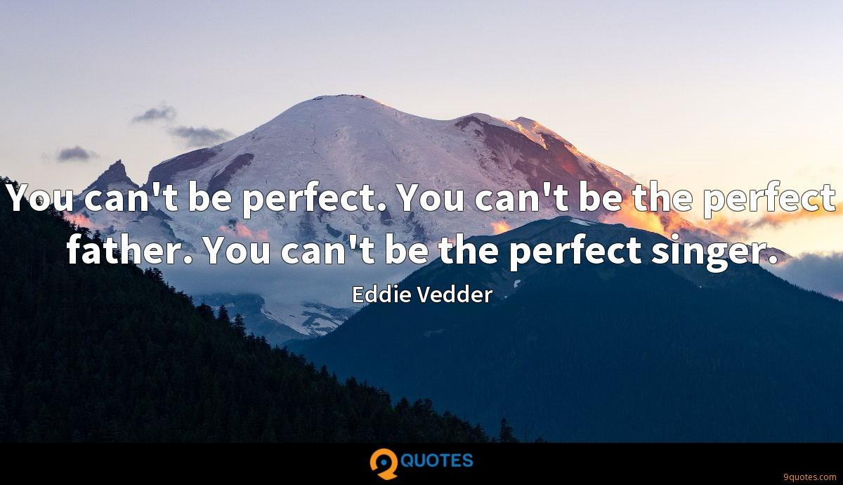 You can't be perfect. You can't be the perfect father. You can't be the perfect singer.
