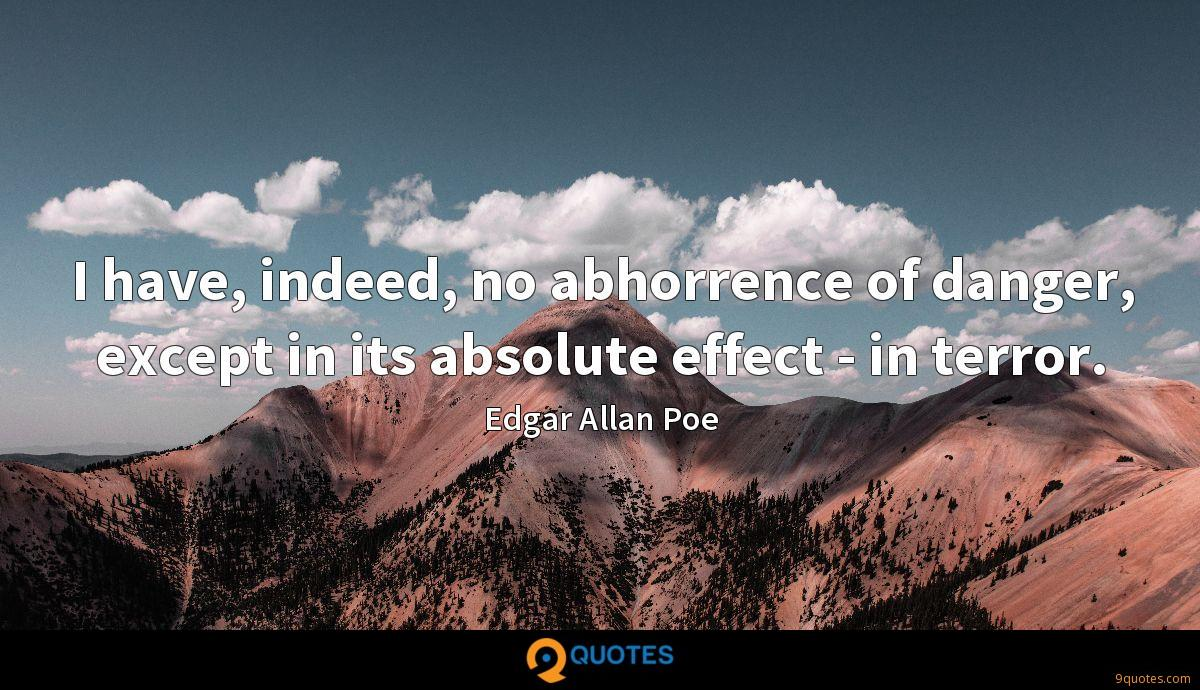 I have, indeed, no abhorrence of danger, except in its absolute effect - in terror.
