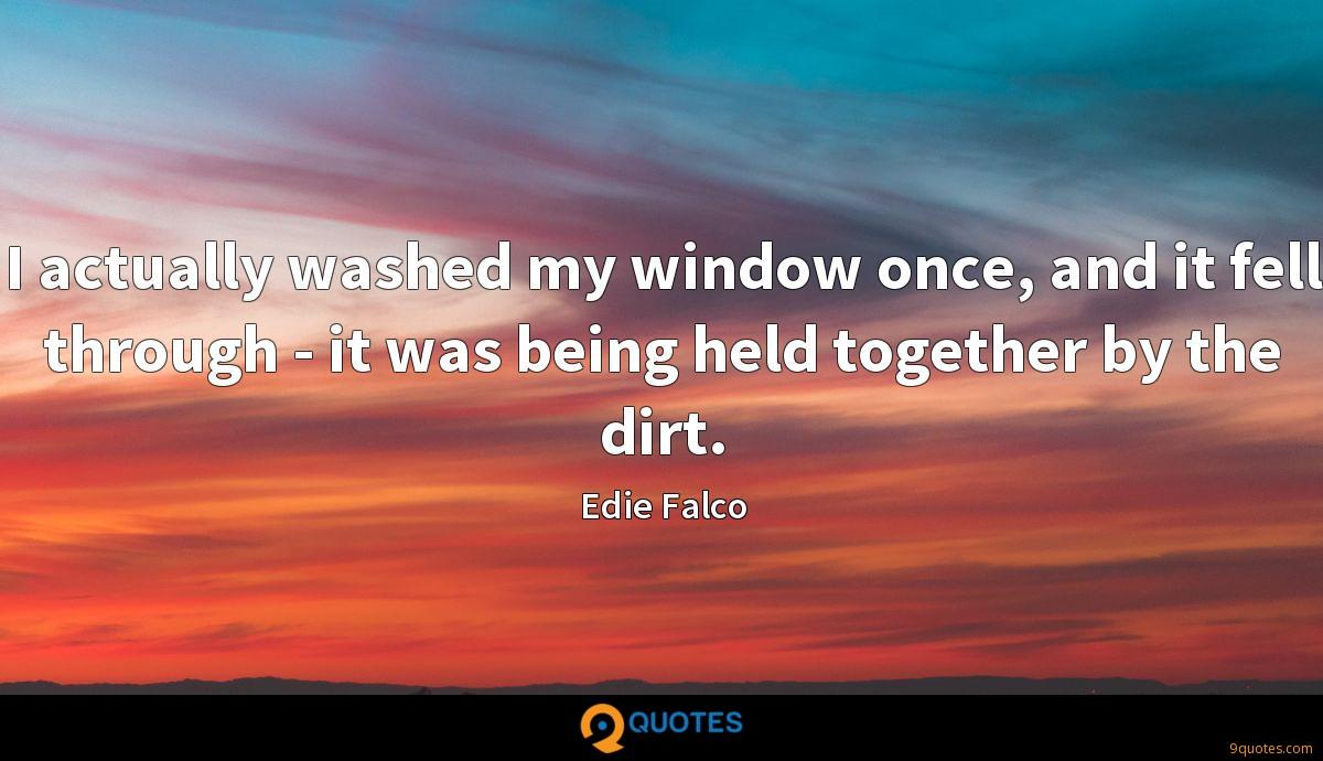 I actually washed my window once, and it fell through - it was being held together by the dirt.