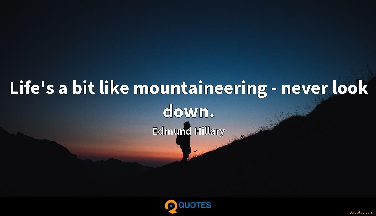 Life's a bit like mountaineering - never look down.