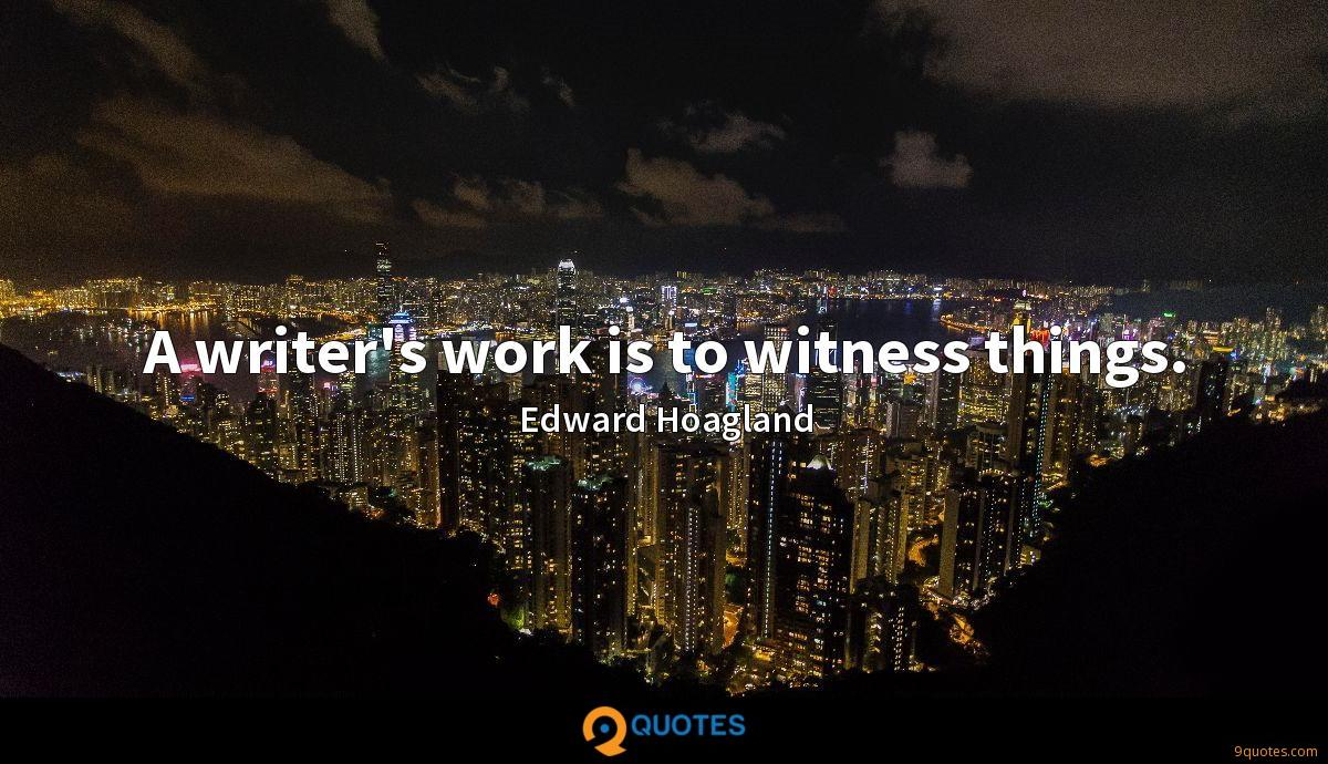 A writer's work is to witness things.