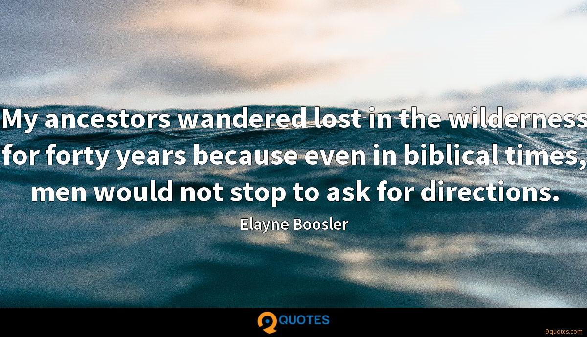My ancestors wandered lost in the wilderness for forty years because even in biblical times, men would not stop to ask for directions.