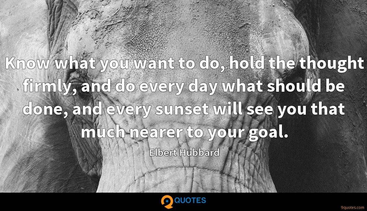 Know what you want to do, hold the thought firmly, and do every day what should be done, and every sunset will see you that much nearer to your goal.