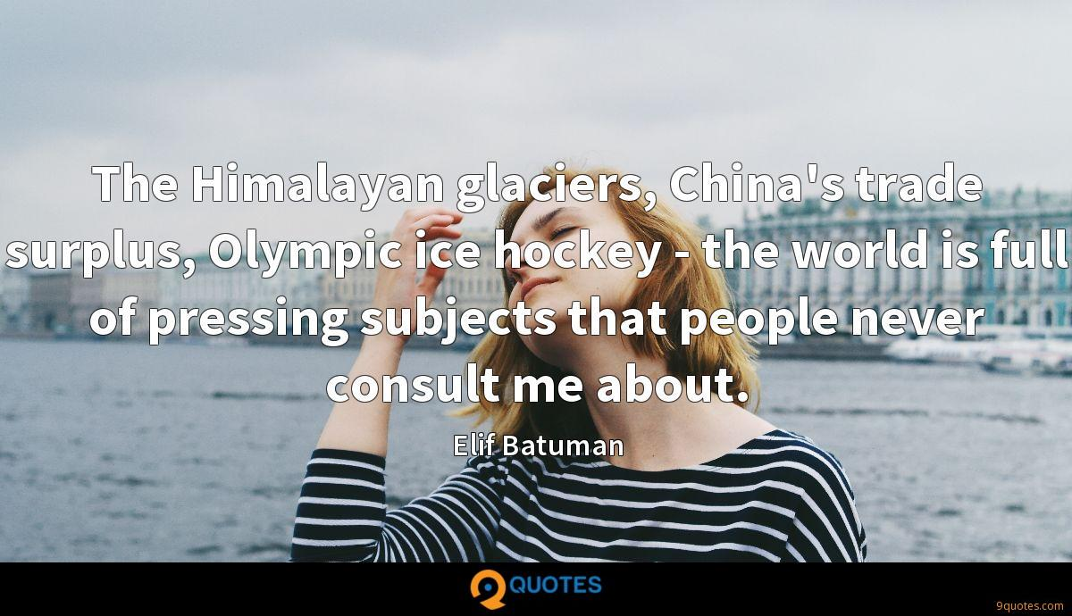 The Himalayan glaciers, China's trade surplus, Olympic ice hockey - the world is full of pressing subjects that people never consult me about.
