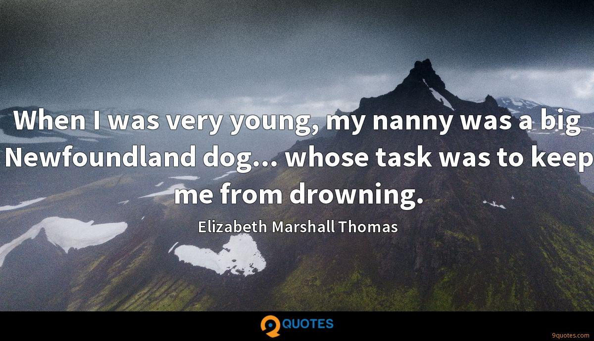 When I was very young, my nanny was a big Newfoundland dog... whose task was to keep me from drowning.