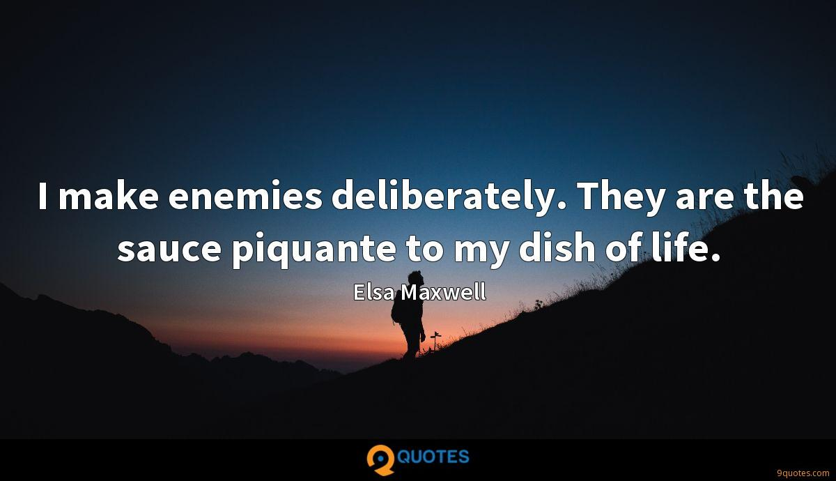 I make enemies deliberately. They are the sauce piquante to my dish of life.