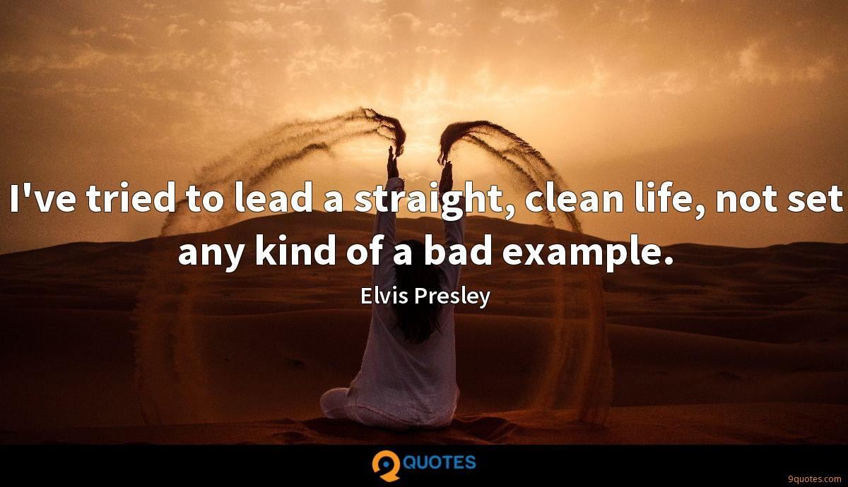 I've tried to lead a straight, clean life, not set any kind of a bad example.
