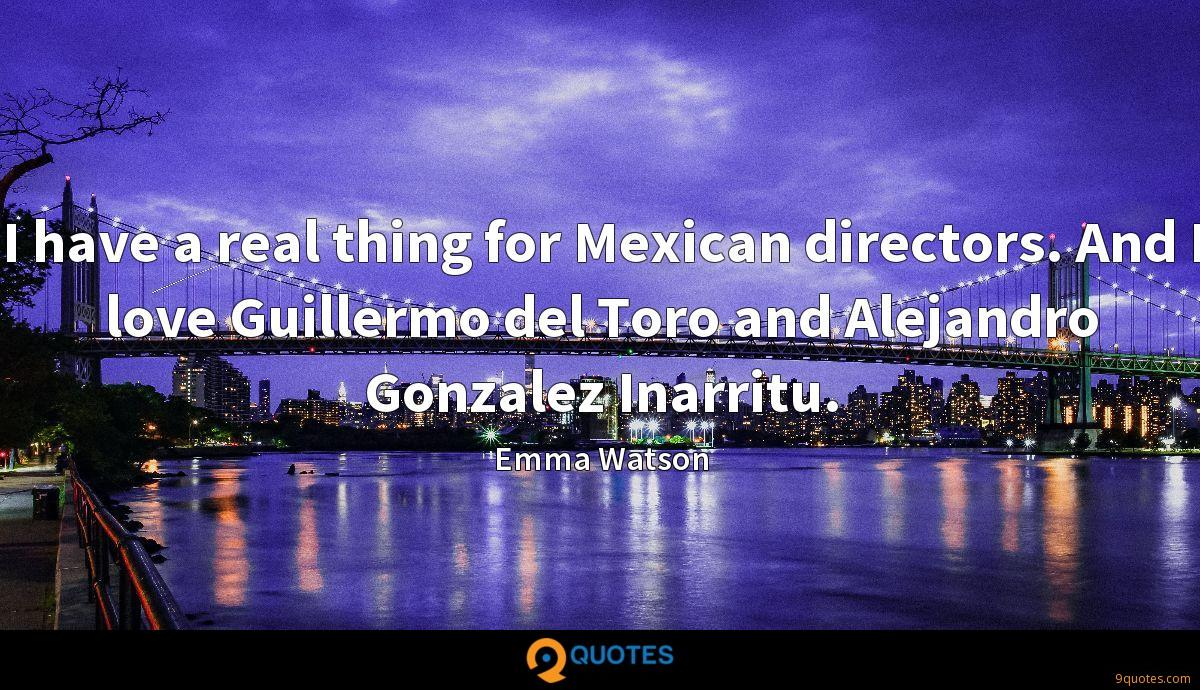 I have a real thing for Mexican directors. And I love Guillermo del Toro and Alejandro Gonzalez Inarritu.