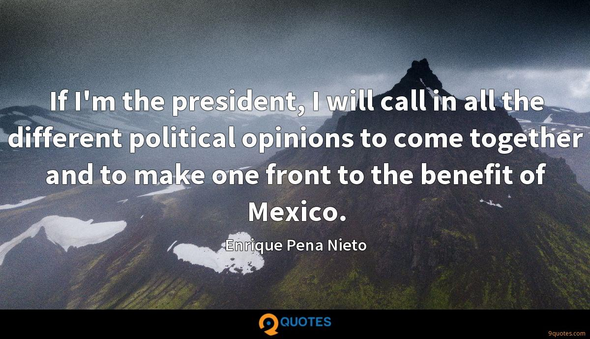 If I'm the president, I will call in all the different political opinions to come together and to make one front to the benefit of Mexico.