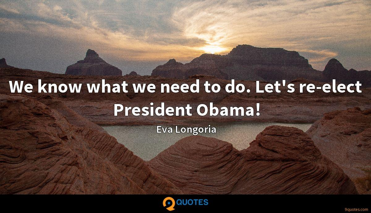 We know what we need to do. Let's re-elect President Obama!