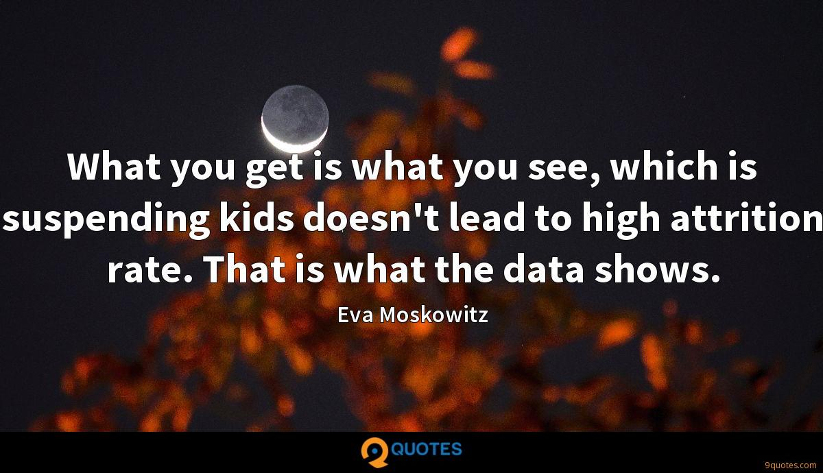What you get is what you see, which is suspending kids doesn't lead to high attrition rate. That is what the data shows.