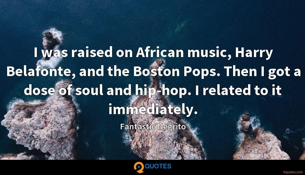 I was raised on African music, Harry Belafonte, and the Boston Pops. Then I got a dose of soul and hip-hop. I related to it immediately.