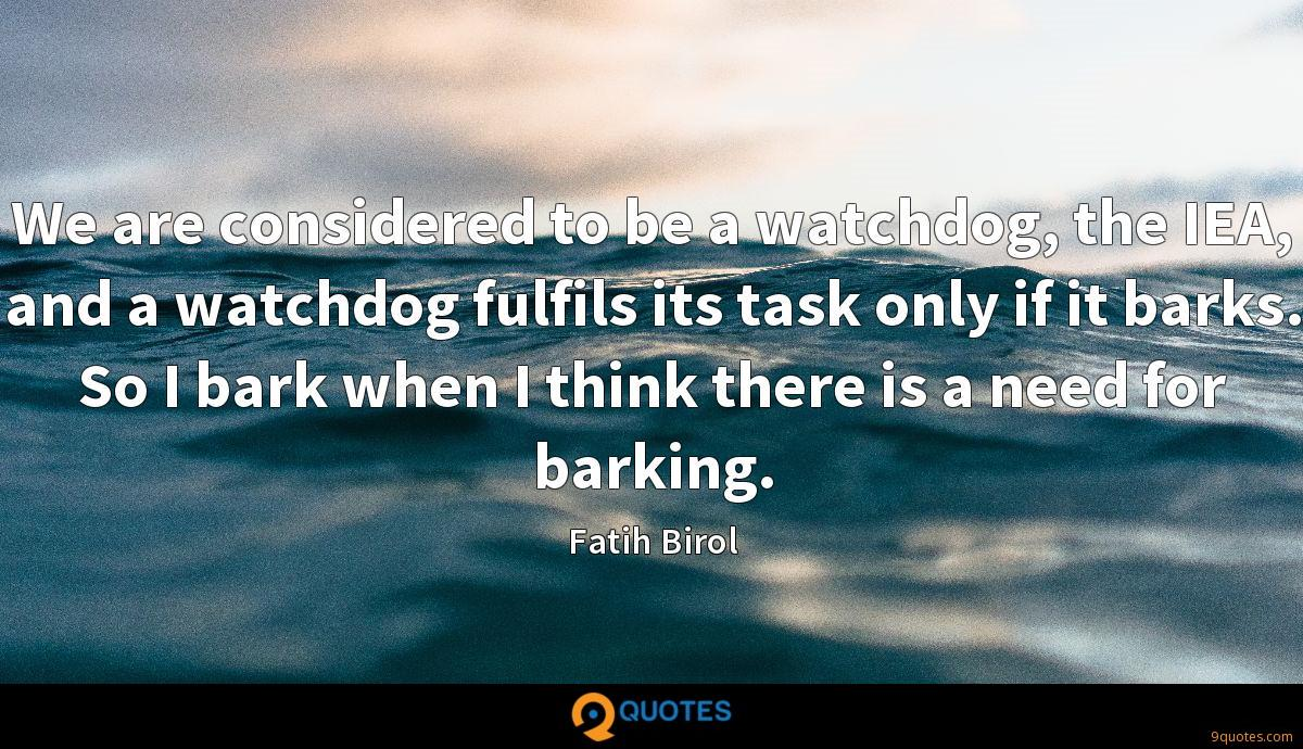 We are considered to be a watchdog, the IEA, and a watchdog fulfils its task only if it barks. So I bark when I think there is a need for barking.