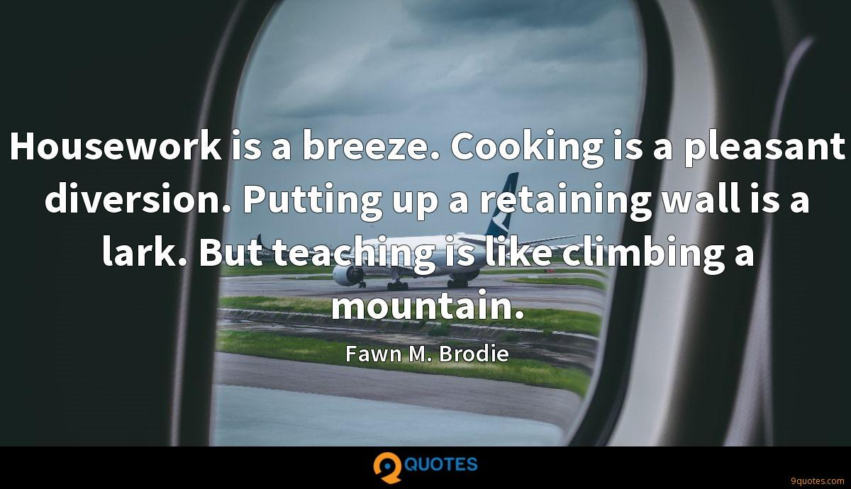 Housework is a breeze. Cooking is a pleasant diversion. Putting up a retaining wall is a lark. But teaching is like climbing a mountain.