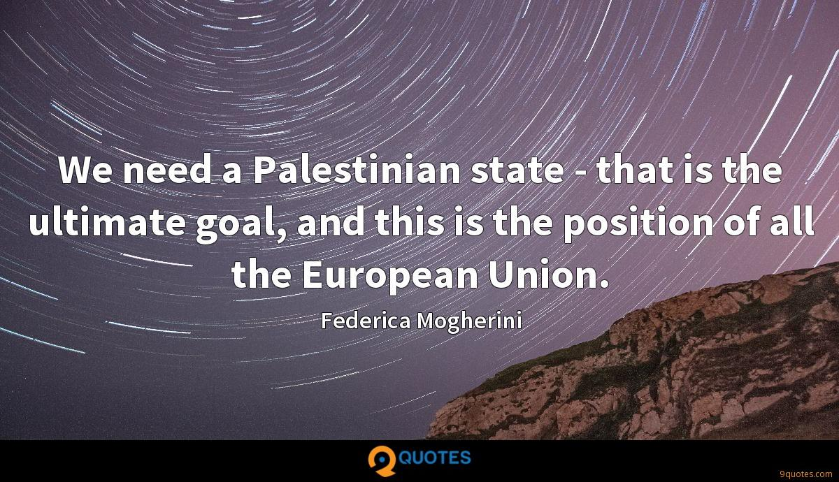We need a Palestinian state - that is the ultimate goal, and this is the position of all the European Union.