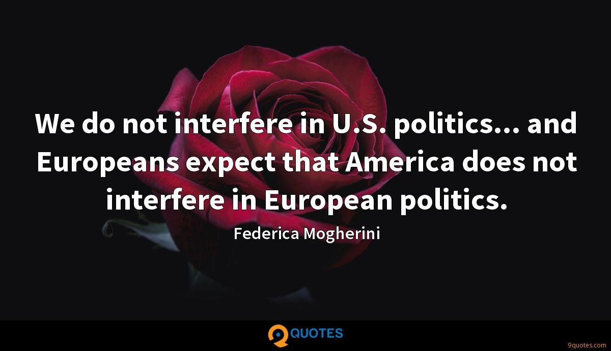 We do not interfere in U.S. politics... and Europeans expect that America does not interfere in European politics.