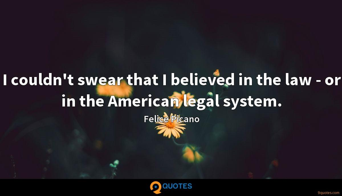 I couldn't swear that I believed in the law - or in the American legal system.