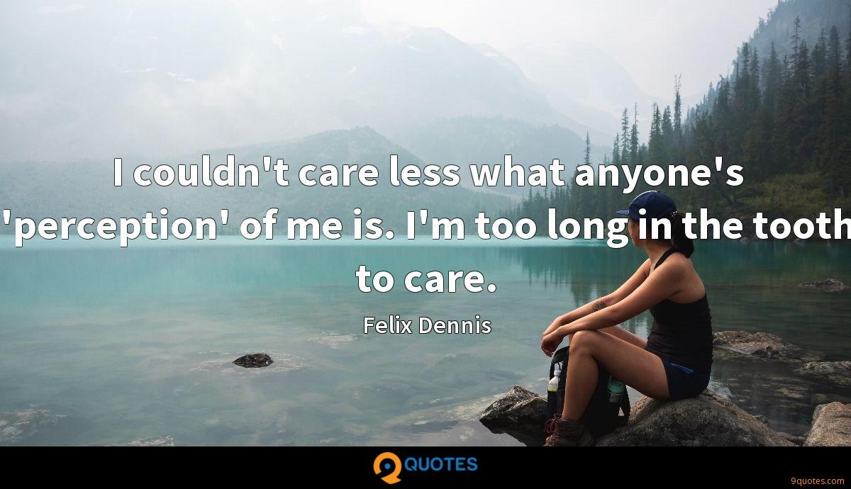 I couldn't care less what anyone's 'perception' of me is. I'm too long in the tooth to care.