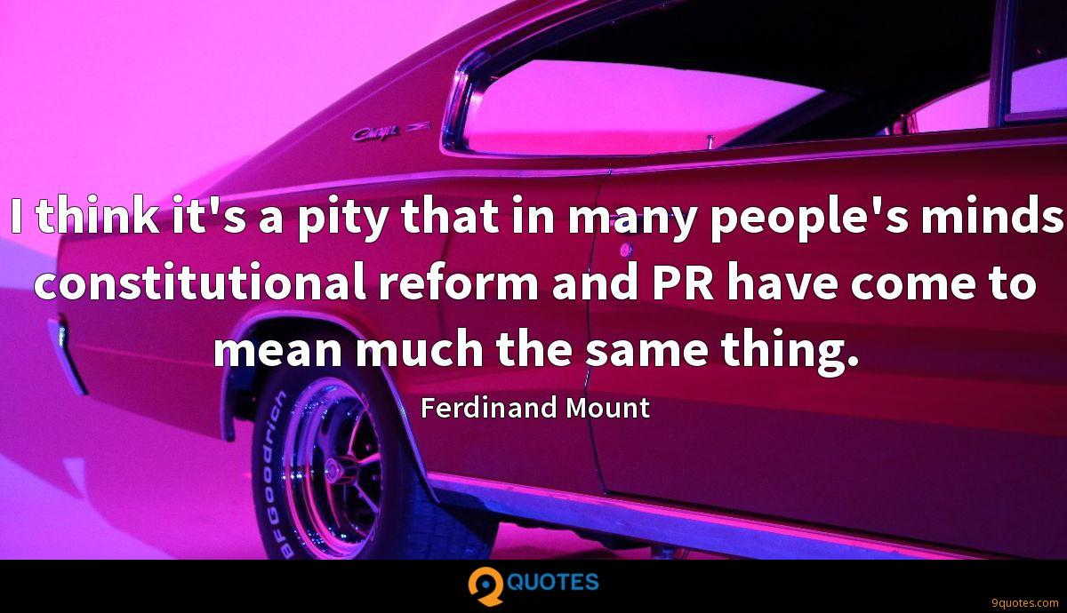 I think it's a pity that in many people's minds constitutional reform and PR have come to mean much the same thing.