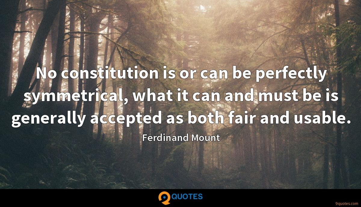 No constitution is or can be perfectly symmetrical, what it can and must be is generally accepted as both fair and usable.