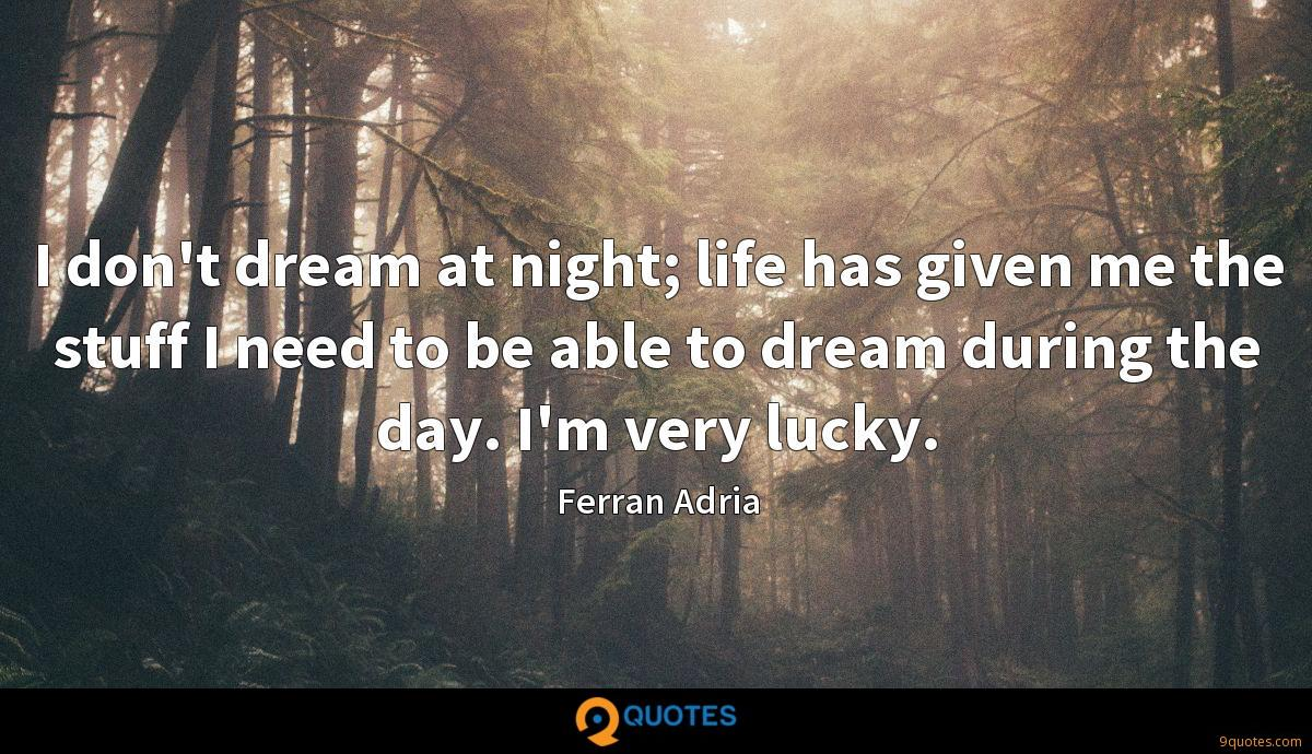 I don't dream at night; life has given me the stuff I need to be able to dream during the day. I'm very lucky.
