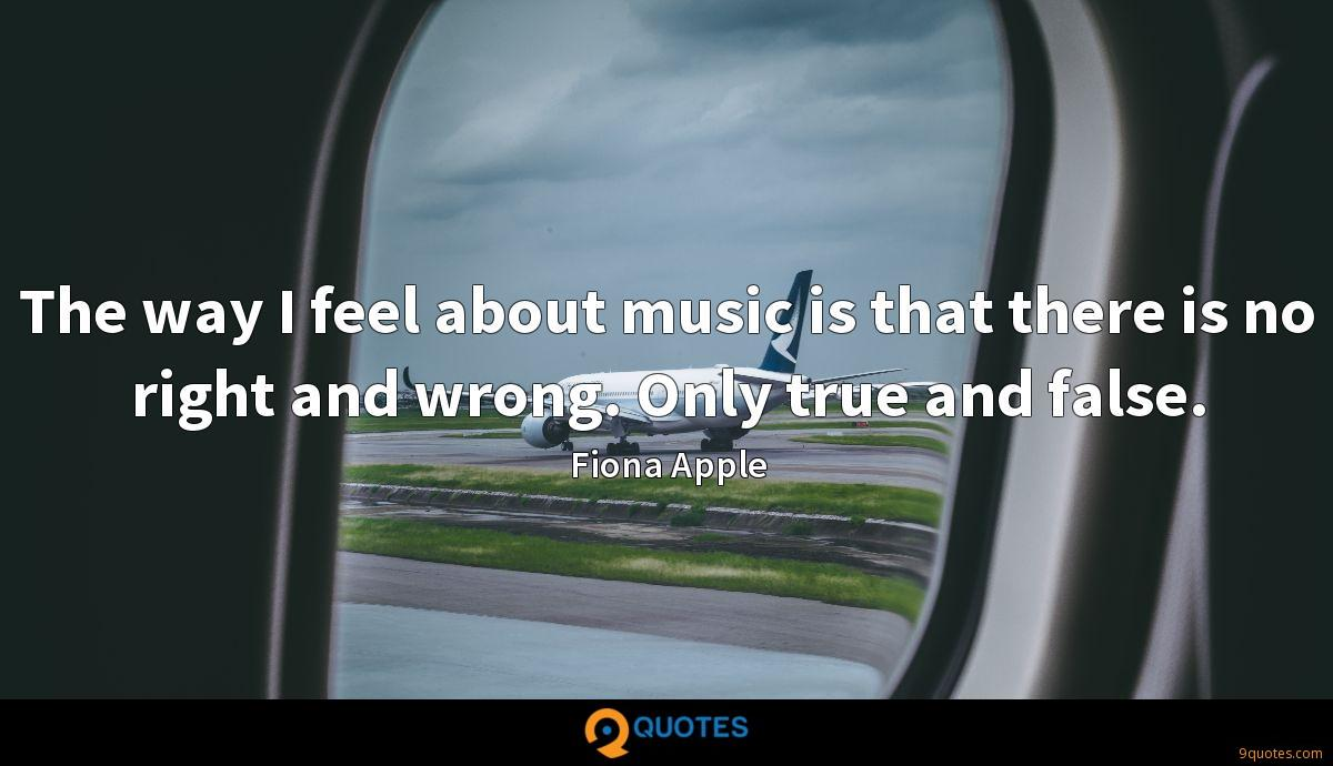 The way I feel about music is that there is no right and wrong. Only true and false.
