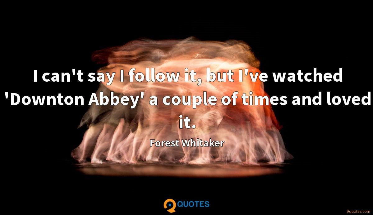 I can't say I follow it, but I've watched 'Downton Abbey' a couple of times and loved it.